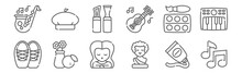 Set Of 12 Fine Arts Icons. Out...