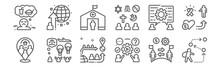 Set Of 12 Refugee Crisis Icons. Outline Thin Line Icons Such As Nomad, Process, Humanitarian, Assmilate, Camp, Global