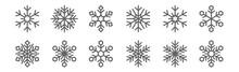 Set Of 12 Snowflakes Icons. Ou...