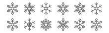 Set Of 12 Snowflakes Icons. Ou...
