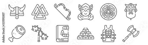 Photo set of 12 viking icons