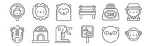 Set Of 12 In The Zoo Icons. Outline Thin Line Icons Such As Monkey, Food, Ticket Office, Bag, Alpaca, Lion
