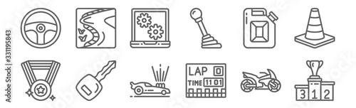 Fotomural set of 12 motor sports icons