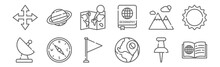 Set Of 12 Geography Icons. Out...