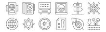 Set Of 12 Geography Icons. Outline Thin Line Icons Such As Lake, Test Results, Autumn, Panel, Park, Journal