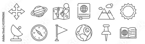Fototapeta set of 12 geography icons