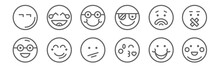 Set Of 12 Emoticons Icons. Out...