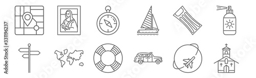 set of 12 travelling icons Wallpaper Mural