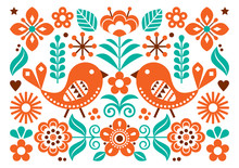 Scandinavian Folk Art Vector C...