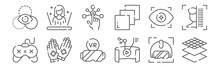 Set Of 12 Virtual Reality Icons. Outline Thin Line Icons Such As Architecture, Video, Gloves, Eye, Interactivity, Hologram