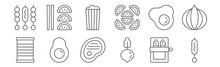 Set Of 12 Food Icons. Outline ...