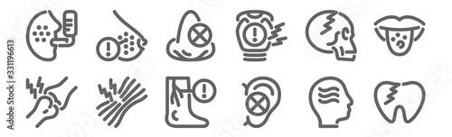 set of 12 disease icons Canvas Print