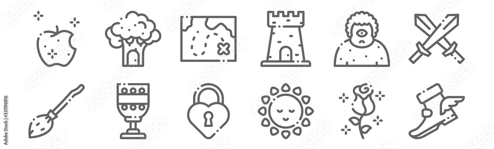 Fototapeta set of 12 fairytale icons. outline thin line icons such as magic boot, sun, goblet, giant, treasure map, tree house