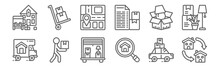 Set Of 12 Removals Icons. Outline Thin Line Icons Such As Moving, Magnifying Glass, Box, Packing, Street Map, Trolley