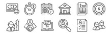 Set Of 12 Business Icons. Outl...