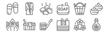 Set Of 12 Sauna Icons. Outline Thin Line Icons Such As Oil, Swimming Pool, Sauna, Bucket, Hot Stones, Bathrobe
