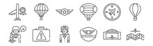 Set Of 12 Aviation Icons. Outline Thin Line Icons Such As Airplane, Hat, Suitcase, Compass, Badge, Parachute
