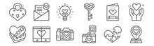 Set Of 12 Love Icons. Outline Thin Line Icons Such As Location, Camera, Smartphone, Card, Light Bulb, Mail