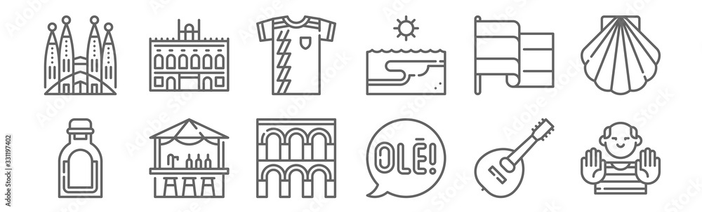 set of 12 tipical spanish icons. outline thin line icons such as picasso, speech bubble, chiringuito, flag, football shirt, royal palace