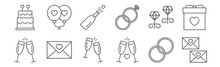 Set Of 12 Wedding Icons. Outline Thin Line Icons Such As Envelope, Cheers, Envelope, Earrings, Champagne, Balloon