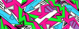 Fototapeta Młodzieżowe - Backdrop, graffiti drawing style,wallpaper, abstract geometric futuristic bright background