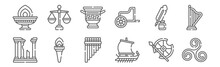 Set Of 12 Ancient Greece Icons...