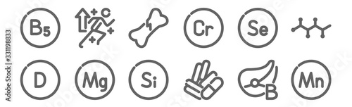 Fototapeta set of 12 vitamin icons. outline thin line icons such as vitamin, pills, vitamin, broken bone, power obraz