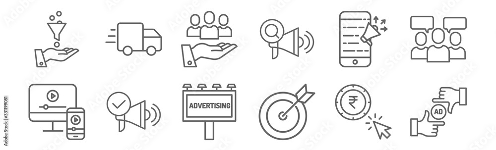 Fototapeta set of 12 ads icons. outline thin line icons such as ad, strategy, ads, ads, value,