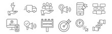 Set Of 12 Ads Icons. Outline T...