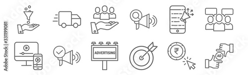 Fototapeta set of 12 ads icons. outline thin line icons such as ad, strategy, ads, ads, value, obraz
