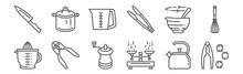 Set Of 12 Kitchen Icons. Outline Thin Line Icons Such As Nutcracker, Scale, Can Opener, Bowl, Measurement, Pot