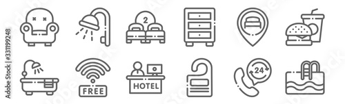 Tela set of 12 hotel icons