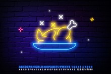 Grilled Whole Chicken Neon Light Icon. Thanksgiving Day Turkey. Glowing Sign With Alphabet, Numbers And Symbols. Vector Isolated Illustration