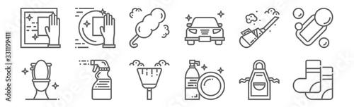Photo set of 12 hygiene icons