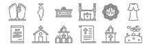 Set Of 12 Funeral Icons. Outline Thin Line Icons Such As Graveyard, Speech, Church, Wreath, Coffin, Ghost