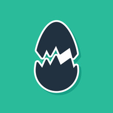 Blue Broken Egg Icon Isolated ...