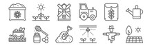 Set Of 12 Farm Icons. Outline Thin Line Icons Such As Farm, Crops, Honey, Rice, Windmill, Crops