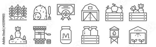 Fotografía set of 12 farm icons