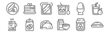 Set Of 12 Breakfast Icons. Out...