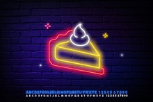Hot Pie Neon Sign. Thanksgiving Day And Advertisement Design. Night Bright Neon Sign, Colorful Billboard, Light Banner. Vector Illustration In Neon Style.