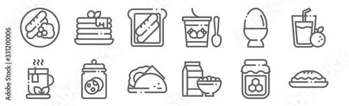 Obraz na plátně set of 12 breakfast icons