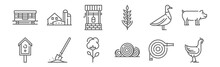 Set Of 12 Agriculture Icons. O...