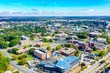 Aerial shot of North Carolina A & T with a cloudy blue sky in the background