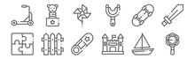 Set Of 12 Children Toys Icons....
