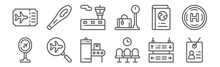 Set Of 12 Airport Icons. Outli...