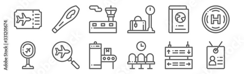 Obraz set of 12 airport icons. outline thin line icons such as id card, waiting room, search, passport, control tower, metal detector - fototapety do salonu