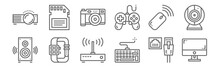 Set Of 12 Devices Icons. Outli...