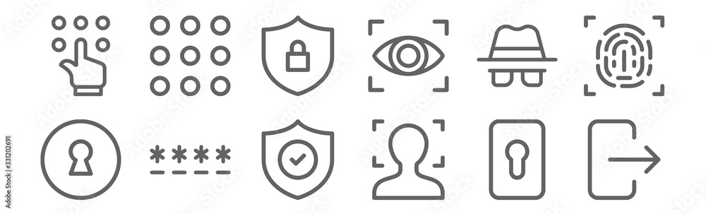 Fototapeta set of 12 security icons. outline thin line icons such as , face scan, password, spy, privacy, keypad