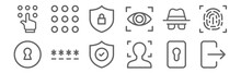 Set Of 12 Security Icons. Outline Thin Line Icons Such As , Face Scan, Password, Spy, Privacy, Keypad