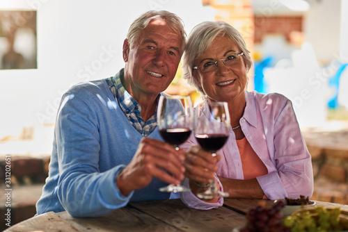 Senior couple enjoying their time at home Canvas Print